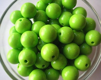 Lime Green Gumball Beads, 10 pcs, 16mm Bubblegum Bead, Acrylic Bead, Chunky Necklace Bead, Round Bead