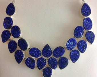 Silver Drusy Quartz Necklace