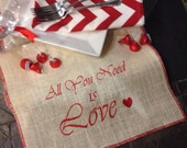 """Love Valentine's Day embroidered off white burlap table runner with red edges 12"""" x 57""""  - All you need is Love"""
