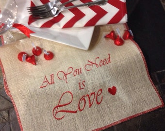 "Love Valentine's Day embroidered off white burlap table runner with red edges 12"" x 57""  - All you need is Love"