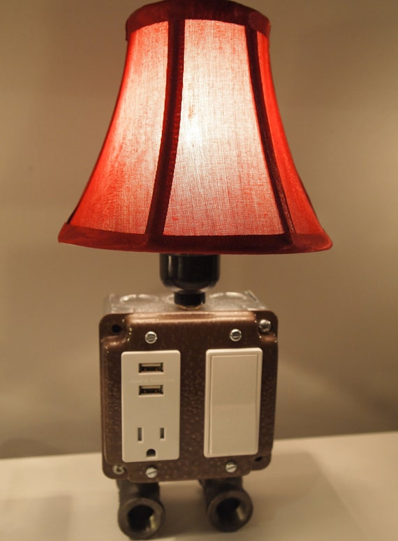 Vintage Table Or Desk Lamp Usb Charger Amp Lamp By Bosslamps