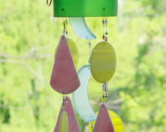 Recycled Wine Bottle Chime, Windchime, Tumbled Glass, Beach Glass, Mobile, Copper Wire