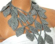 Crochet ivy, Grey ivy leafs Lariat Scarf. Fashion Flower Scarves, Necklace...