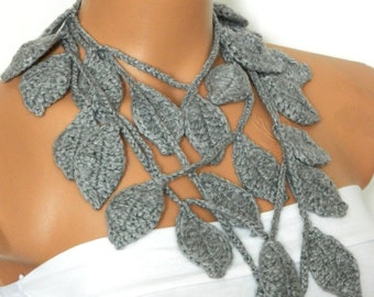 Crochet ivy, Grey ivy leafs Lariat Scarf. Fashion Flower Scarves, Necklace...