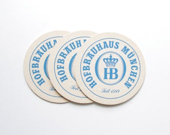 Vintage Hofbrau Beer Coasters - Set of 3