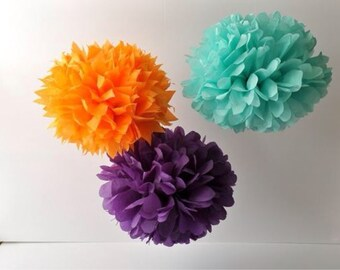tissue paper pom pom kit  -10 - pick COLORS