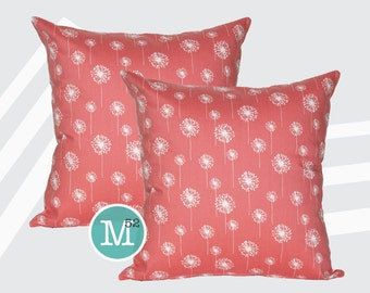 Coral Dandelion Pillow Covers - 20 x 20 and More Sizes - Zipper Closure