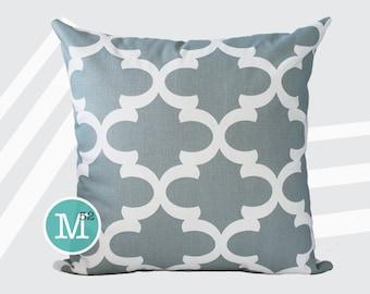 Slate Grey Moroccan Quatrefoil Lattice Pillow Cover Sham - 18 x 18, 20 x 20 and More Sizes - Zipper Closure - sc1820