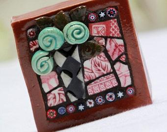 "Roses, Mosaic art, mixed media mosaic, indoor/outdoor garden art  2"" x 2"" x  1""  4 oz."