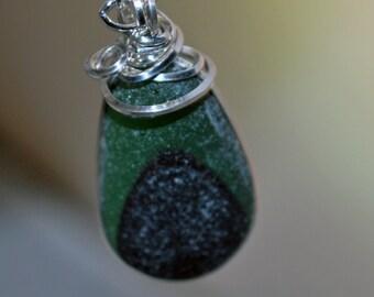 Sea Glass Pendant Green Sea Glass Multi Sterling Silver Pendant