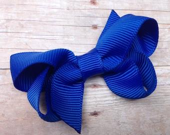 Small blue hair bow - blue bow, blue baby bow