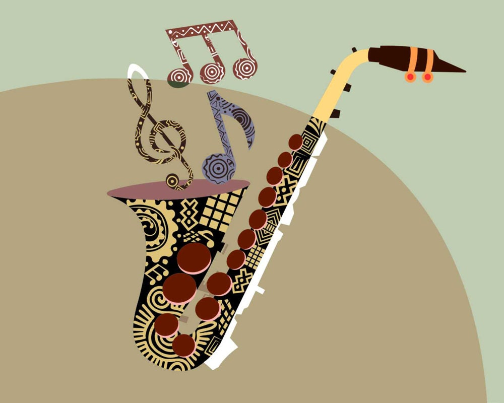 Abstract Music Notes Art: Saxophone Music Art Musical Notes Art Print Abstract By