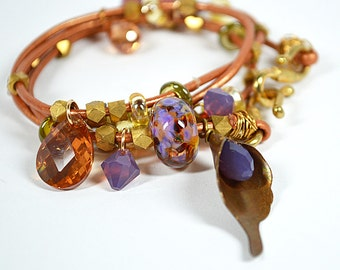 Copper leather wrap bracelet Boho charm dangle bracelet Wrap around bracelet Eclectic multi layer bracelet Bohemian business casual jewelry