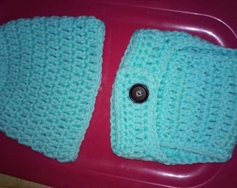 Baby blue hat and diaper cover set handmade