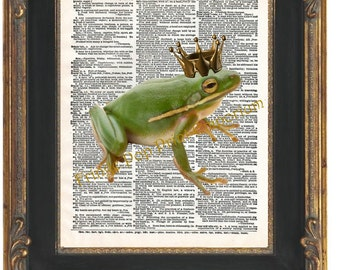 Frog Prince Art Print 8 x 10 Dictionary Page - Altered Art Frog Wearing Crown - Fairy Tale - Storybook