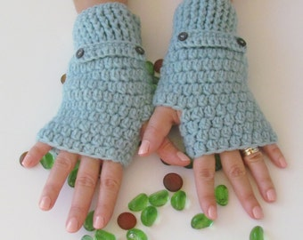 Mint Fingerless Gloves With Buttons,Crochet Pattern, Hand Arm Warmers,Winter Accessories, Fall Fashion,Mittens