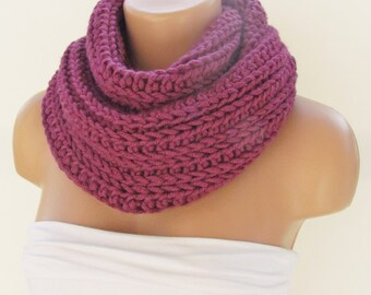 Fuchsia Infinity Loop Scarf,Neckwarmer,Handmade Circle Scarf,Cowl Scarf, Winter Accessories, Fall Fashion,Chunky Scarf.