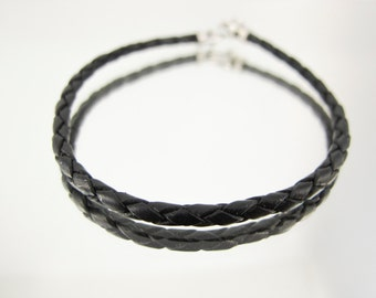Bolo Braided Leather Bracelet Black 10pk  #602