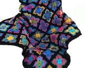 Crochet afghan crochet blanket handmade art deco kaleidoscope, black border, MADE TO ORDER