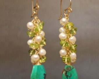 Clusters of ivory pearls, peridot, and turquoise Princess 195