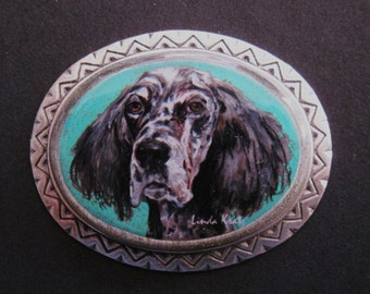 English Setter sterling silver plate wearable art pin
