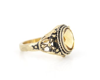 Lovely Retro Gold-tone Transparent Golden Faceted Glass Stone RING,Size 6 or 6.5
