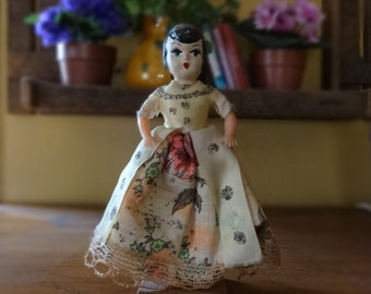 Vintage Mommy Dollhouse Doll Painted Celluloid Fabric Dress Standing Collectible Toy Dark Hair Pretty Face