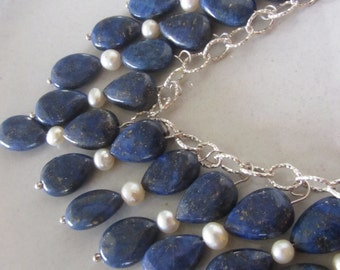 Lapis Lazuli and Pearl Silver Necklace - Deep Blue Necklace