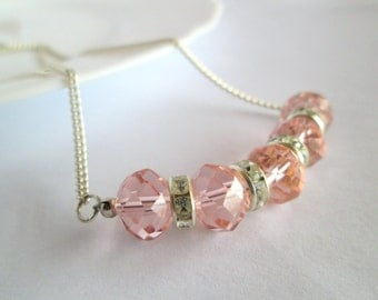 SALE -Gift For Women, Pink Crystal Necklace, Pink Jewelry, Crystal Necklace, Statement Necklace,Statement Jewelry