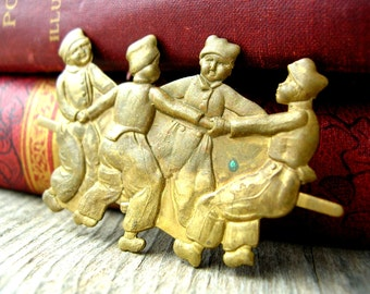 Antique Brass Stamping - Rare Brass - Brass Children - Patina Brass Stamping - Rare Brass Component