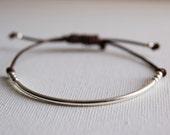 Sterling Silver Bracelet. Beads Bracelet with Leather Cord. Friendship Bracelet