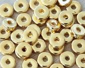 20 pcs Mykonos Ceramic Beads, 24K Gold Plated, 8mm Round Washer Disk - eM08WG