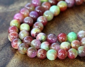 Mountain Jade Beads, Red and Green Mix, 6mm Round - 15 Inch Strand - eMCJ-506-6