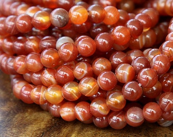 Striped Agate Beads, Terracotta Orange, 6mm Round - 15 inch strand - eGR-AG038-6
