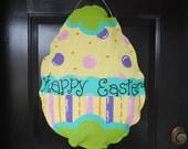 Bright Burlap Easter Egg Door Hanger