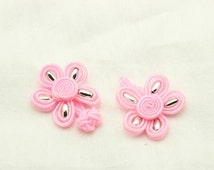 6 pairs 2.08 inch DIY Manual Pink Flower Chinese Cheongsam Frog Buttons for Tang suits