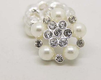 2 pcs 1.02 inch White pearl rhinestone Metal Shank Buttons for Mink fur coats