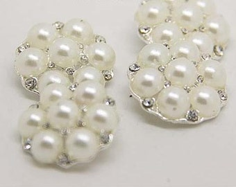 2 pcs 1.10 inch White Pearl Rhinestone Metal Shank Buttons for Mink fur Coats