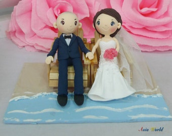Wedding Cake Topper Beach Clay Doll Couple On Wooden Chairs Miniature