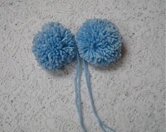 Yarn Pom Poms Handmade - Set of 2 Large - Light Blue - Baby Pom Poms Hat Pom Pons