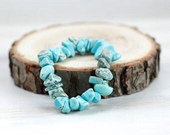 Turquoise Natural Stone Bracelet, Blue Stone Bangle, Turquoise Bangle, Women Bracelet, Bohemian Boho Chic Bracelet,