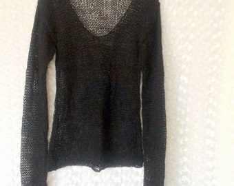 Grunge Sweater Black Loose Knit Sweater Mohair Blouse