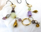 HANDMADE BEADED NECKLACE of Gold and Antique Brass Circles, Crystals, Amethyst, Tiger Eye, Lightweight Mixed Metals