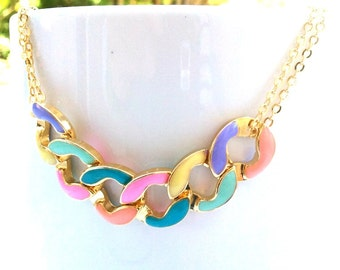 Color block Gold statement necklace, Gold Pendant necklace, Bib necklace, Popular Necklace, Gift
