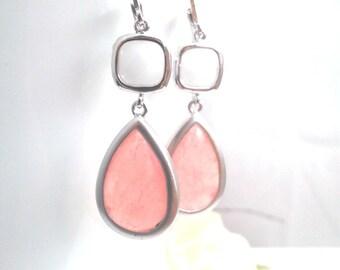 White Summer Wedding earrings, Blush Pink Drop Earrings, bridesmaid giftsWedding jewelry, Dangle Earrings,Statement Earrings, Coral earrings
