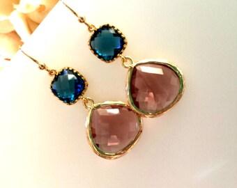 Purple Earrings, Navy Drop Earrings - Plum Purple Dangle Earrings,bridesmaid gifts,Wedding Jewelry,Bridemaids Jewelry, Purple Earrings