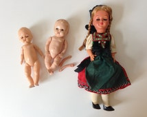 Set of 3 Vintage Blonde Blue Eyes Girl Boy Dolls Making Supplies for Parts or Repair  E642s