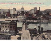 Postcard - PENNSYLVANIA - Smithfield St Bridge, P, L & E Station in foreground - Pittsburgh   - UNUSED