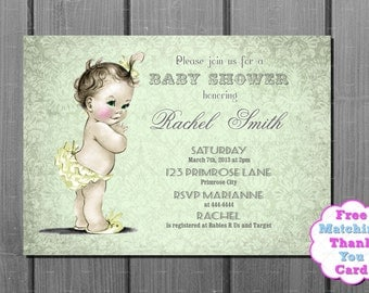 Green  Damask Baby Shower Invitation and FREE Thank You Card Printable DIY