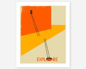 EXPLORE, Modern Abstract Minimalism for the home decor, Giclee Fine Art Print